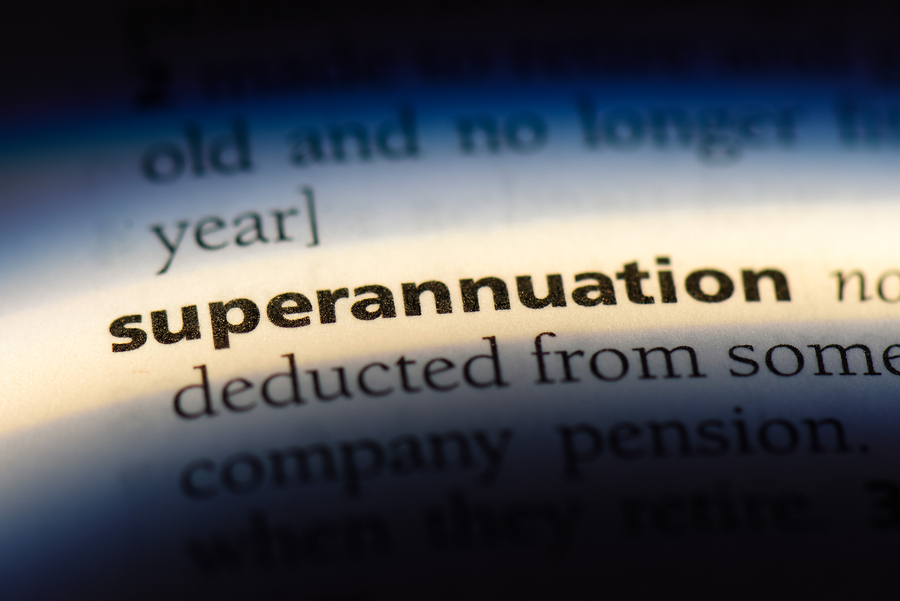 Superannuation word in a dictionary. A superannuation concept.